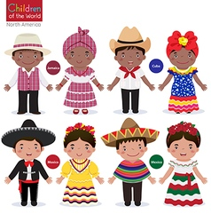 Kids in different traditional costumes jamaica vector