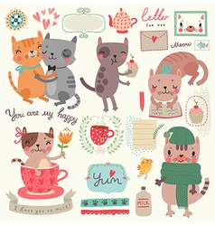 Cute cat set vector image