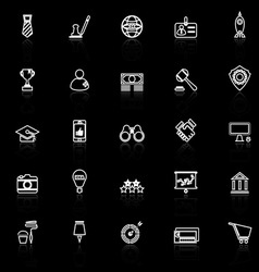 Sme line icons with reflect on black vector