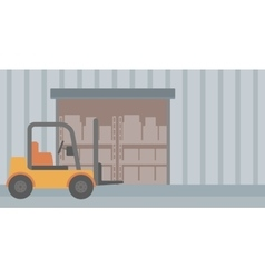 Background of forklift truck and cardboard boxes vector