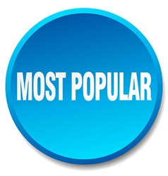 Most popular blue round flat isolated push button vector