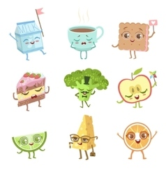 Different food childish characters emotion set vector