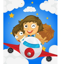 A plane with three kids vector image vector image
