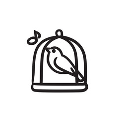Bird singing in cage sketch icon vector