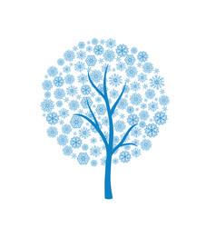 Blue winter tree vector