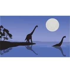 Brachiosaurus in sea scenery vector