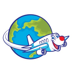 cartoon plane flying around the globe vector image vector image