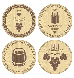 Champagne Wine Wood labels on white vector image vector image
