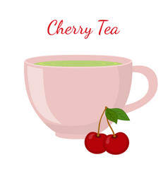 cherry tea in cup with berries vector image vector image