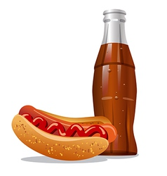 cola and hotdog vector image vector image