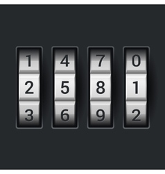 Combination lock number code on dark background vector image vector image