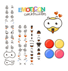constructor of cute lovely kawaii emoticon vector image