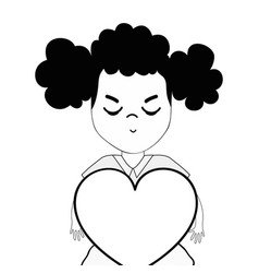 Contour pretty girl with heart and casual wear vector