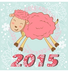 Cute 2015 card with sheep vector image vector image
