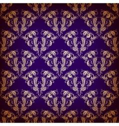 damask seamless on violet background vector image vector image