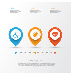 Drug icons set collection of remedy handicapped vector