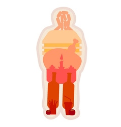 Fat man with unhealthy lifestyle food inside him vector