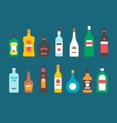 Flat design alcohol bottles collection vector image