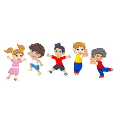 funny children cartoon jumping vector image
