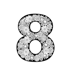 Hand drawn floral alphabet design Digit 8 vector image vector image