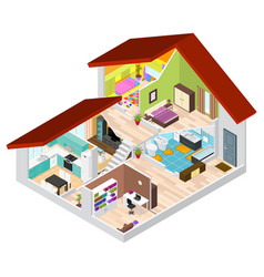 House in cutaway isometric view vector