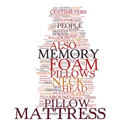 Memory foam mattress pillows text background word vector