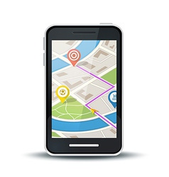 mobile phone with gps map application vector image vector image
