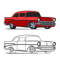 Muscle car cartoon classic poster and for vector