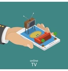 Online tv flat isometric concept vector