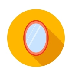Oval mirror icon flat style vector