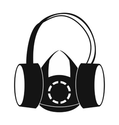 Protective ear muffs and respirator icon vector