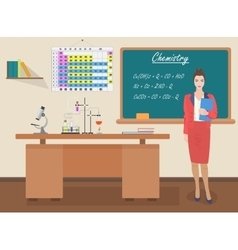 School chemistry female teacher in audience class vector