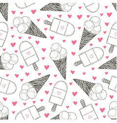 seamless pattern with hand drawn ice creams vector image