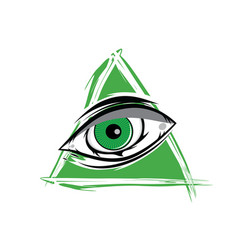 the all seeing eye - green firey flame illuminati vector image