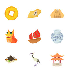 Tourism in china icons set cartoon style vector