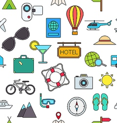 Travel colorful pattern icons vector image vector image