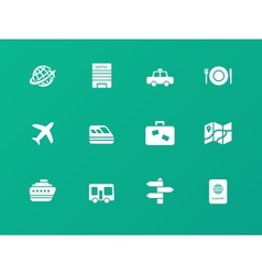 Travel icons on green background vector