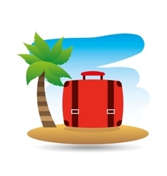tropical vacation beach suitcase luggage vector image