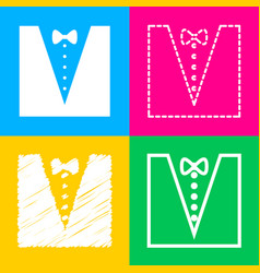 Tuxedo with bow silhouette four styles of icon on vector