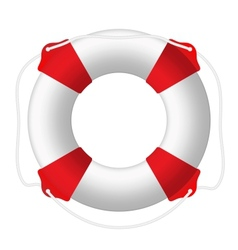 White lifebuoy red stripes rope Isolated vector image
