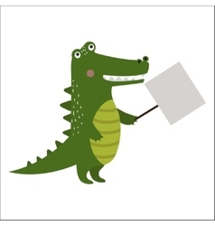 Wild animal crocodile strike with clean plate vector