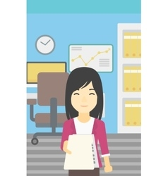 Woman giving resume vector