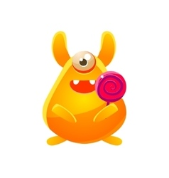 Yellow Toy Monster With Candy vector image