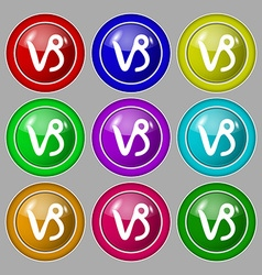 Capricorn icon sign symbol on nine round colourful vector
