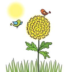 birds on a flower vector image