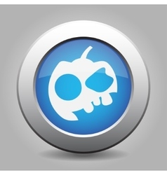 Blue metallic button white pumpkin icon vector
