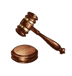 Wooden judges gavel isolated vector