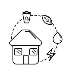 figure house with save energy water and recycle vector image