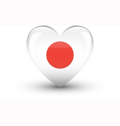 Heart-shaped icon with national flag of japan vector