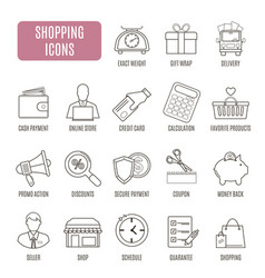 Shopping icons set of pictogram for web graphics vector